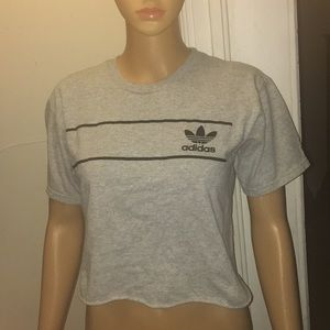 Grey and Black Adidas Cropped Top
